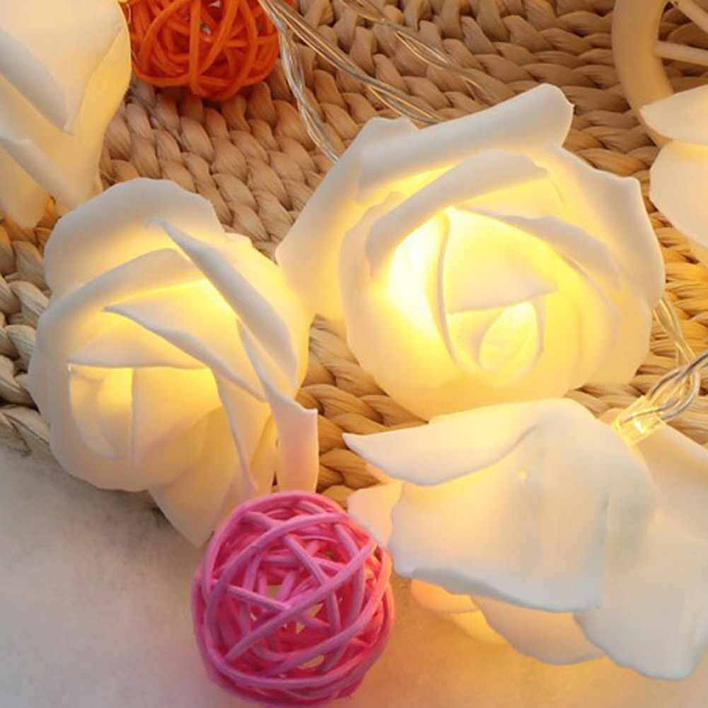1.2M Rose Flower String Lights Fairy Wedding Party Christmas Holiday Lighting Home Decoration Red/RGB/Warm White LED Night Light