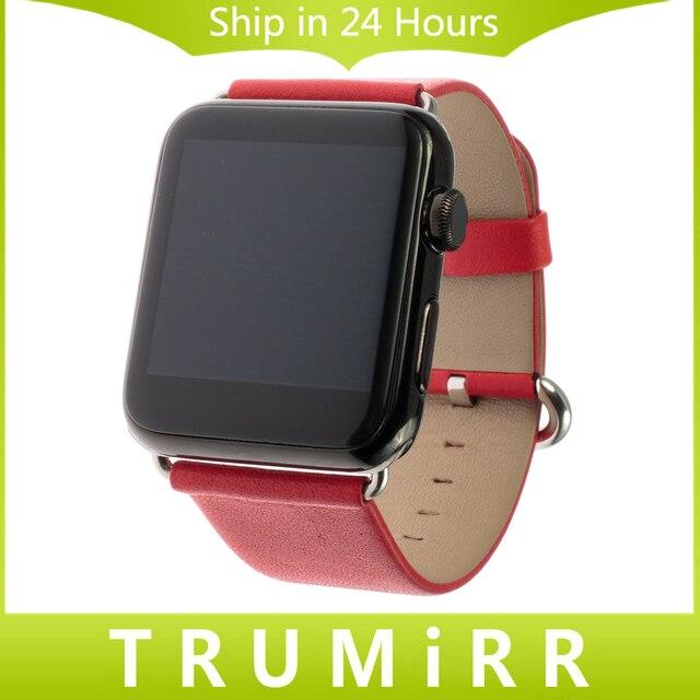 Натуральная Кожа Группа для iWatch Apple Watch/Спорт/издание 38 мм 42 мм Ремешок Для Часов Браслет Ремешок с Адаптером Черный Коричневый красный