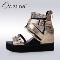 Odetina 2017 New Summer Thick Sole Sandal Shoes Rivet Women Platform Wedge Peep Toe Sandals Boots