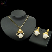 YULAILI Jewelry Luxury Pendant Necklace Drop Stub Earrings Set Pure Gold Color Bridal Party Accessories for Ladies