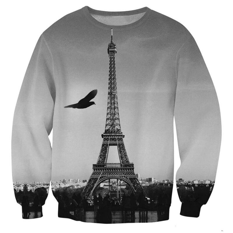 1ef4c46bfff US $16.36 38% OFF|Eiffel Tower Sweatshirt Men 3D Hoodie Homme Fashion  Autumn Winter Long Sleeve Loose Pullovers Grey Color Sweats Tops-in Hoodies  & ...