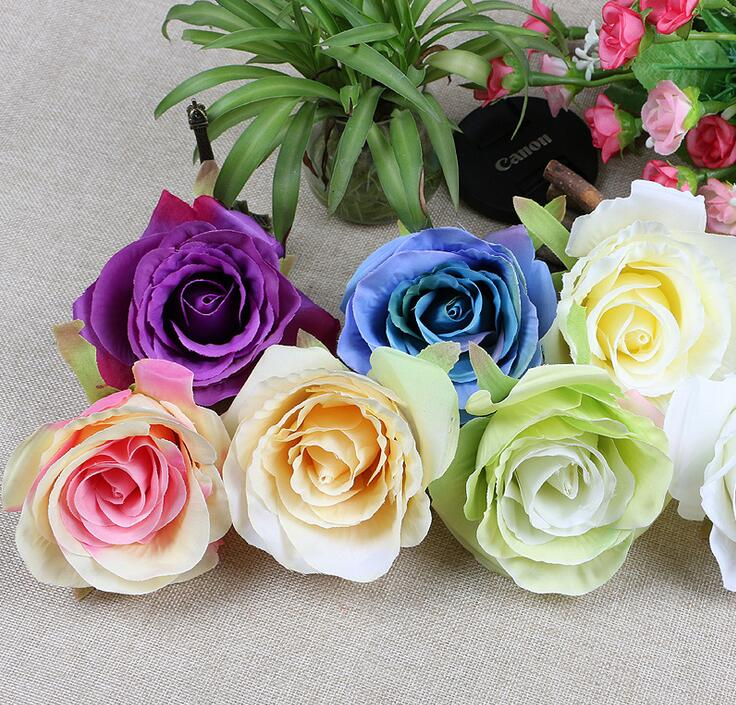 Soie fleurs en gros rose têtes artificielles fleurs 4.3 pouces diamètre  faux fleurs tête haute qualité soie fleurs WR003 4b820cdd6f8