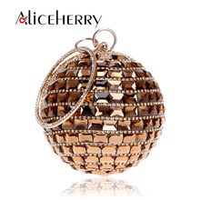 2018 New Fashion Round Diamond Bag Handbags Women  Party Banquet Handmade Circular Gold Silver Red Crossbody For