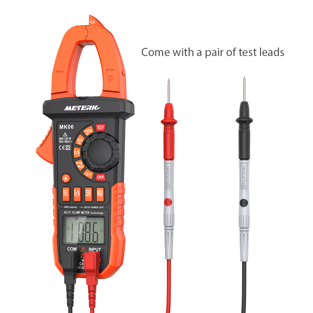 Meterk Digital Clamp Meter AC/DC Voltage Current Clamp Multimeter Capacitance Resistance Frequency Diode Hz Tester Auto-rangingw