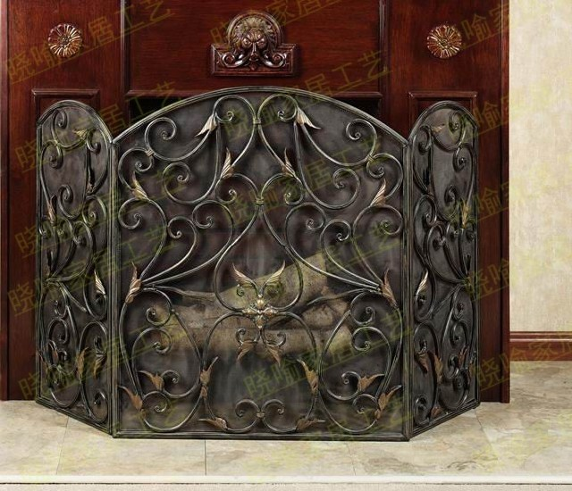 Wrought iron floor mantel The leaves modelling fireplace surround furnace1127