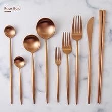 KuBac Hommi 9-Pieces Luxury Rose Gold Cutlery Set Dinnerware Set Tableware Matte Silverware Dinner Fork Knife Drop Shipping