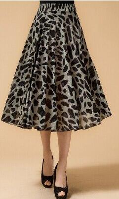 Новинка лета среднего возраста и пожилых Женская мода свободные большой код печати хлопок с эластичной талией юбки хорошее качество ae120 - Цвет: 1
