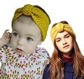 Winter Knit Headband parent-child style Women kids Warm head Wrap Crochet knotted  Hair Band  2pcs/set