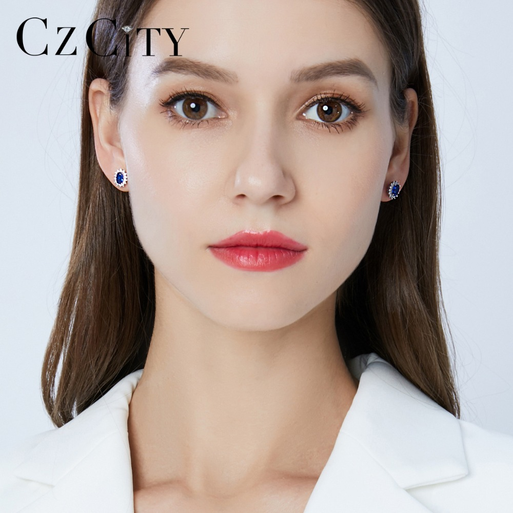 CZCITY New Natural Birthstone Royal Blue Oval Topaz Stud Earrings With Solid 925 Sterling Silver Fine CZCITY New Natural Birthstone Royal Blue Oval Topaz Stud Earrings With Solid 925 Sterling Silver Fine Jewelry For Women Brincos