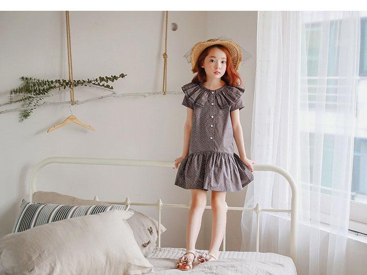 new fashion 2017 girl dress ruffles preppy style kids dresses for girls children school clothing dot short sleeve children dresses girls 2017 summer dresses kids clothes (23)