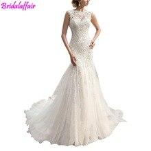 lace Beading Sleeveless Mermaid Long Wedding Dress Elegant Bridal Gown brautkleid luxus wedding gowns 2018 bestidos de novia