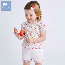 Dave bella summer baby clothing sets children lovely floral suits toddler infant high quality clothes girls outfit DBA6585