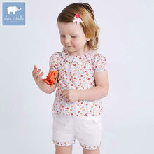 Dave bella summer baby clothing sets children lovely floral suits toddler infant high quality clothes girls outfit DBA6585(China)