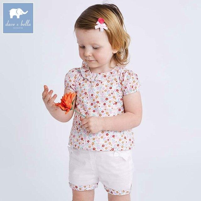 Комплекты летней одежды для детей Dave bella, милые детские комплекты с цветочным принтом, одежда высокого качества для новорожденных, одежда для девочек, DBA6585