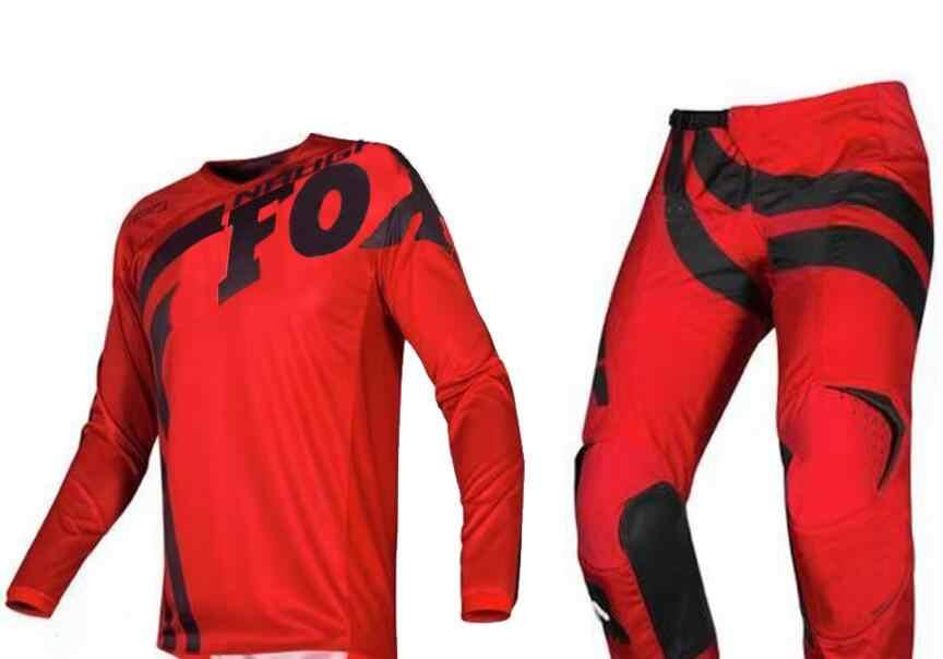 Ücretsiz Kargo 2019 YARAMAZ FOX MX 180 Cota Jersey & Pantolon Combo Motocross Racewear Kir Bisiklet Off Road Yetişkin Yarış dişli seti Siyah