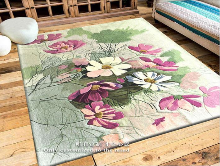 Européen et Américain 100% Laine Floral tapis pour Salon Chambre Couloir Couloir De Mode Floral Moderne Motif Tapis