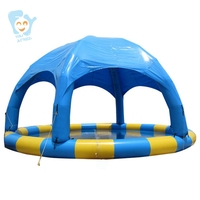 Dia 8m Large Inflatable Water Walking Ball Pool Swimming Pool with Inflatable Dome Tent Commercial Water Games Customize