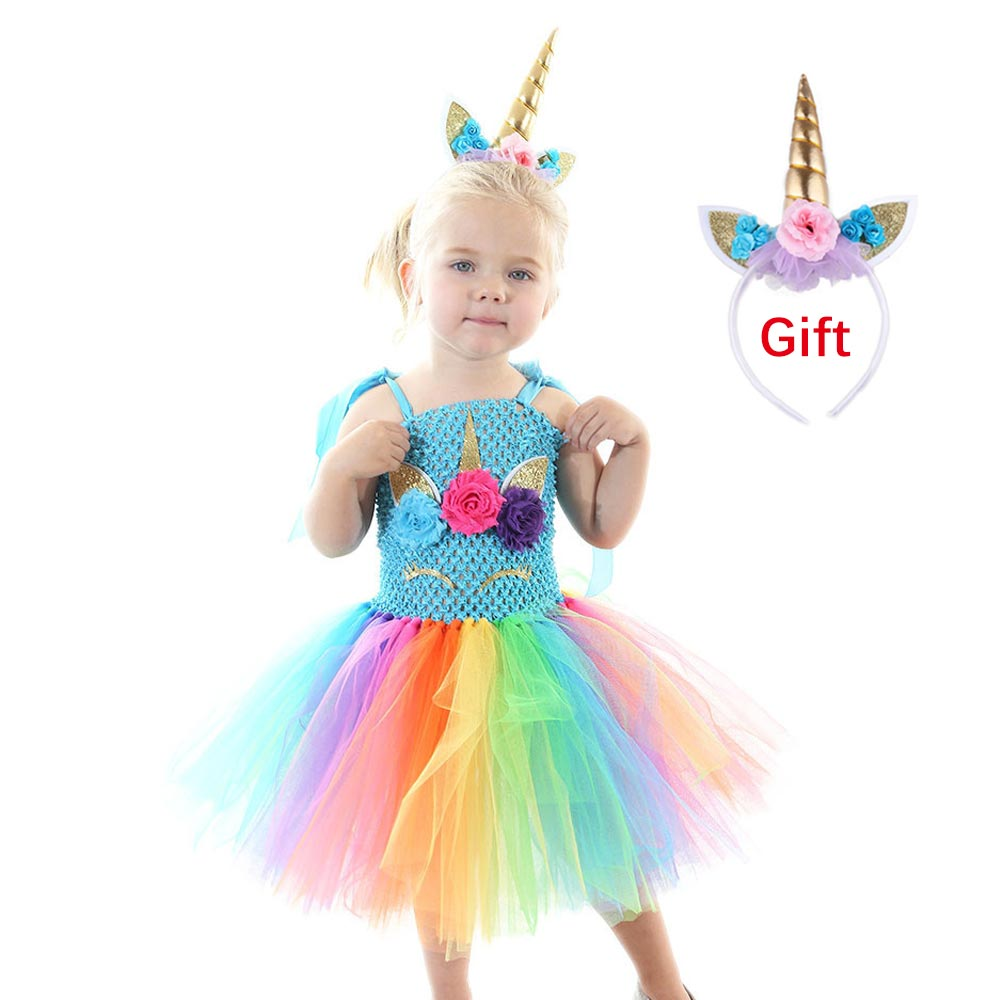 Flower Girls Unicorn Tutu Dress Pastel Rainbow Princess Girls Birthday Party