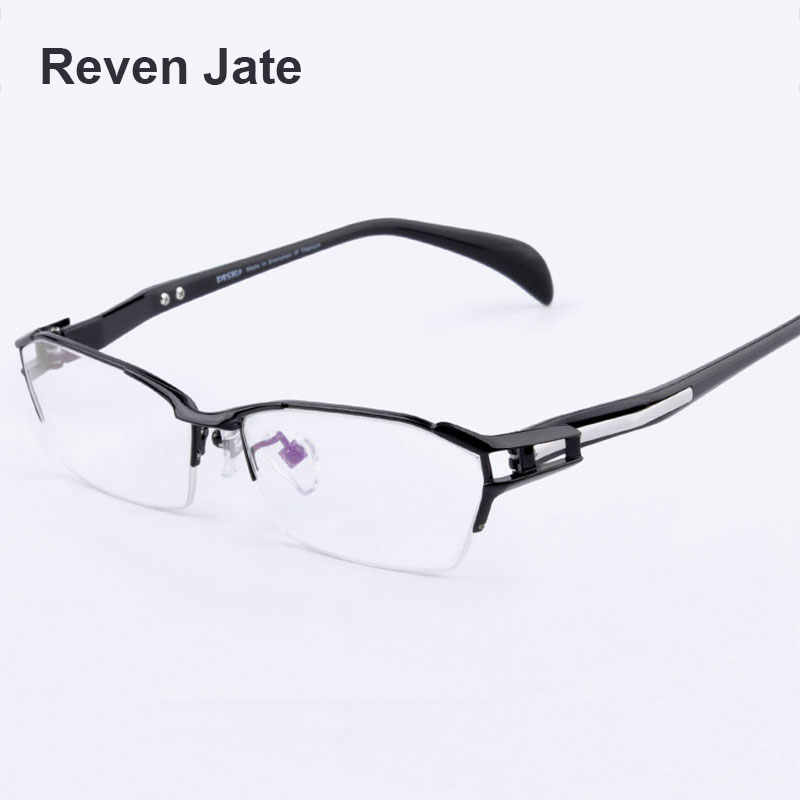Reven Jate EJ1174 Fashion Men Eyeglasses Frame Ultra Light-weighted Flexible IP Electronic Plating Metal Material Rim Glasses