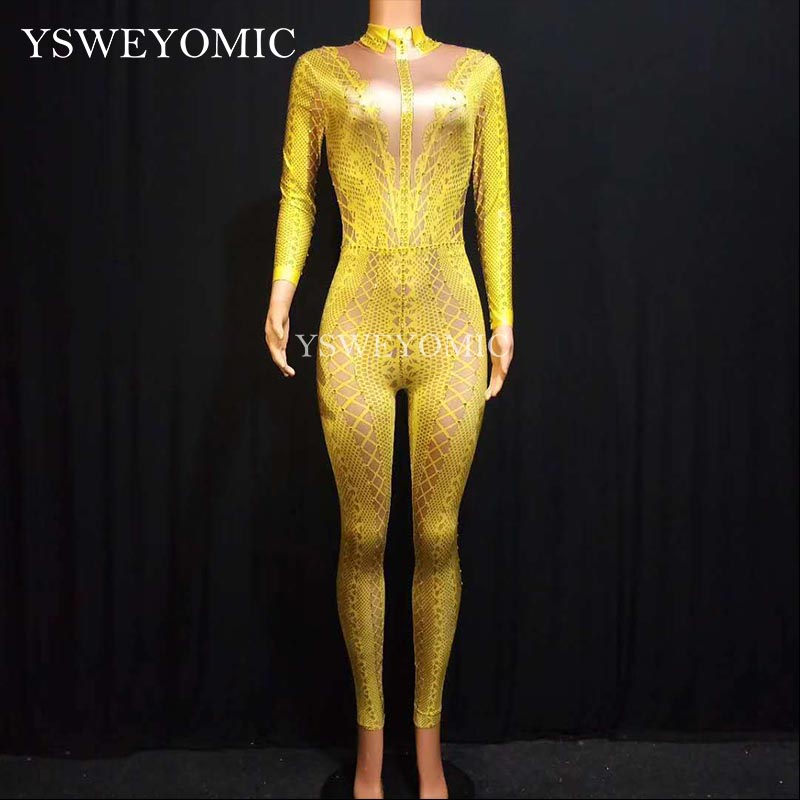 White Yellow Black Rhinestones Bodysuit Women Stretch Jumpsuit Stage Dance Wear Latin Dance Jumpsuit for women