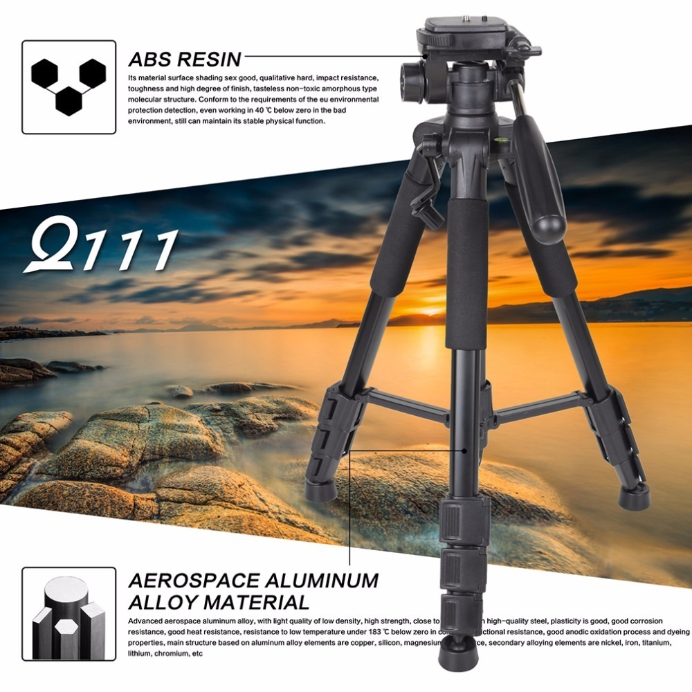 Aluminum Folding Camera Tripod Professional Portable Travel Tripod with 3 way Pan Head Bag Monopod for