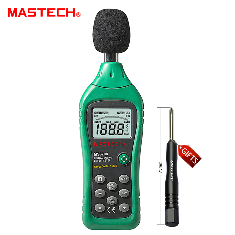 ФОТО MASTECH MS6708 Handheld Industrial Digital Sound Level Meter 30~130dB Analog Bar Display Back Light Decibel Tester
