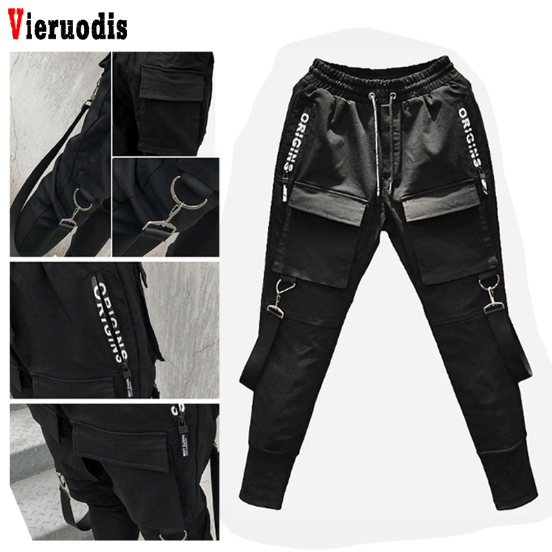 Fashion Mens Hot NEW Hip Hop Patchwork Cargo Ripped Sweatpants Joggers Trousers Male Full Length Pants Side Pockets Pencil Pants(China)