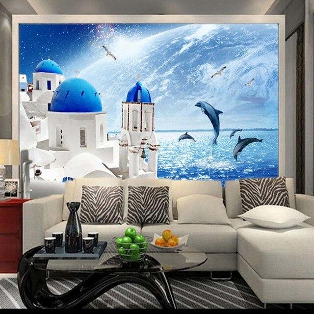 US $10.19 49% OFF Blau Himmel Meer Welt Schloss Wandbild Foto Tapete für  Wohnzimmer Kinder Schlafzimmer Tapeten Rolle papel de parede 3d custom in  ...