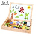 Baby Girls Boys Learning Education Wooden Animal Magnetism Easel Doodle Drawing Board Jigsaw Blackboard Toy For Children Gift