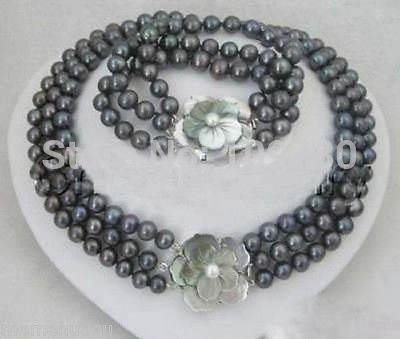Bijoux 00783 De Mode bijoux d'eau douce black pearl shell floral fermoir femmes collier ensembles chaude