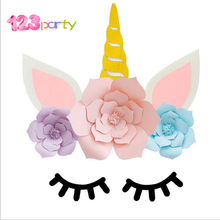 123 DIY Unicorn Theme Party Sets Birthday Party Decorations Artificial Rose Flowers Banner Cake Topper Foil Balloons Supply(China)