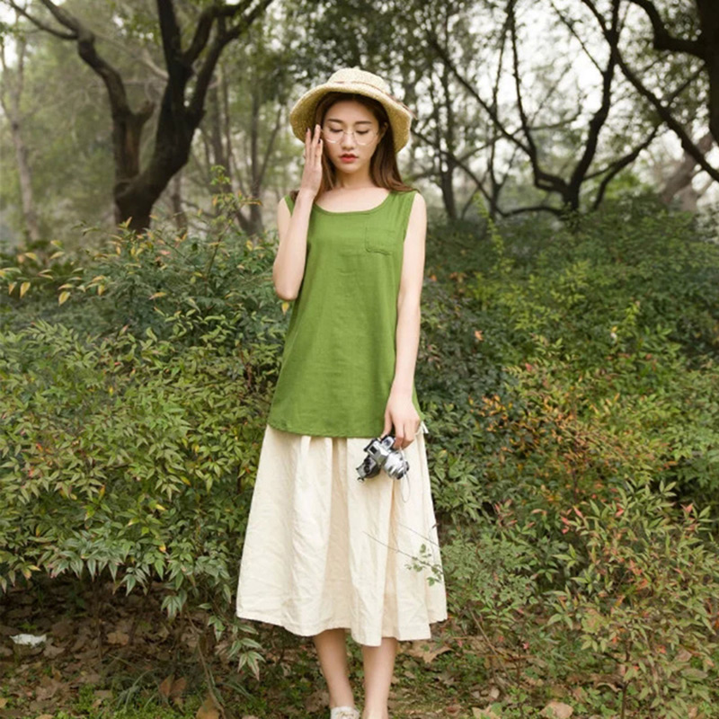 Plus Size Maxi Clothing Women Tops Tees Summer Sleeveless Cotton and Linen Shirt Tank Top Cami Undershirt Tanks Female Clothes