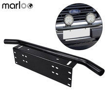 Marloo Chrome Offroad Light / LED Light Bar Autos Bull Bar Front Bumper License Plate Mount Headlight Bracket Holder For Jeep