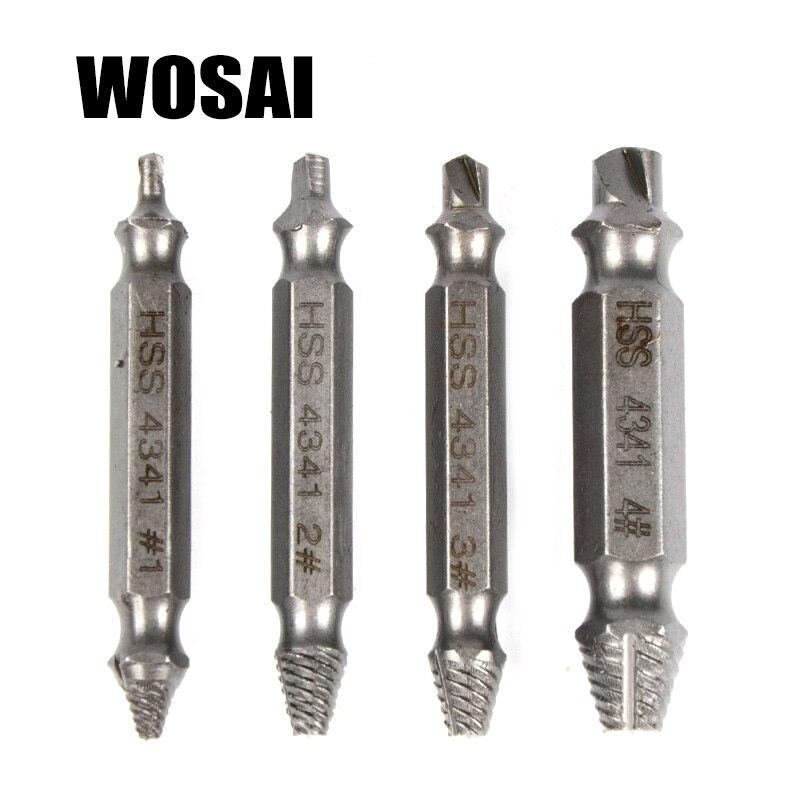 WOSAI HHS Acciaio Inox 4 pz Screw Extractor Drill Bit di Guida Set Rotto Danneggiato Bullone di Rimozione Double Ended Danneggiato Screw Extractor