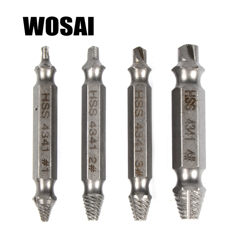 Vodicí sada WOSAI HHS Steel 4ks Screw Extractor Drill Bits Guide Sada zlomených poškozených šroubů Odstraňovač oboustranně poškozených šroubů