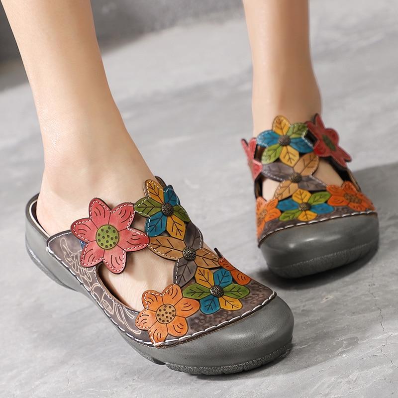 Chaussures Behemian En Cuir Nouveau Été Plage Fleurs Pantoufles Femme Plat Mode on Véritable Dehors Slip Du De 2019 Gray Évider 7BUnERFqww