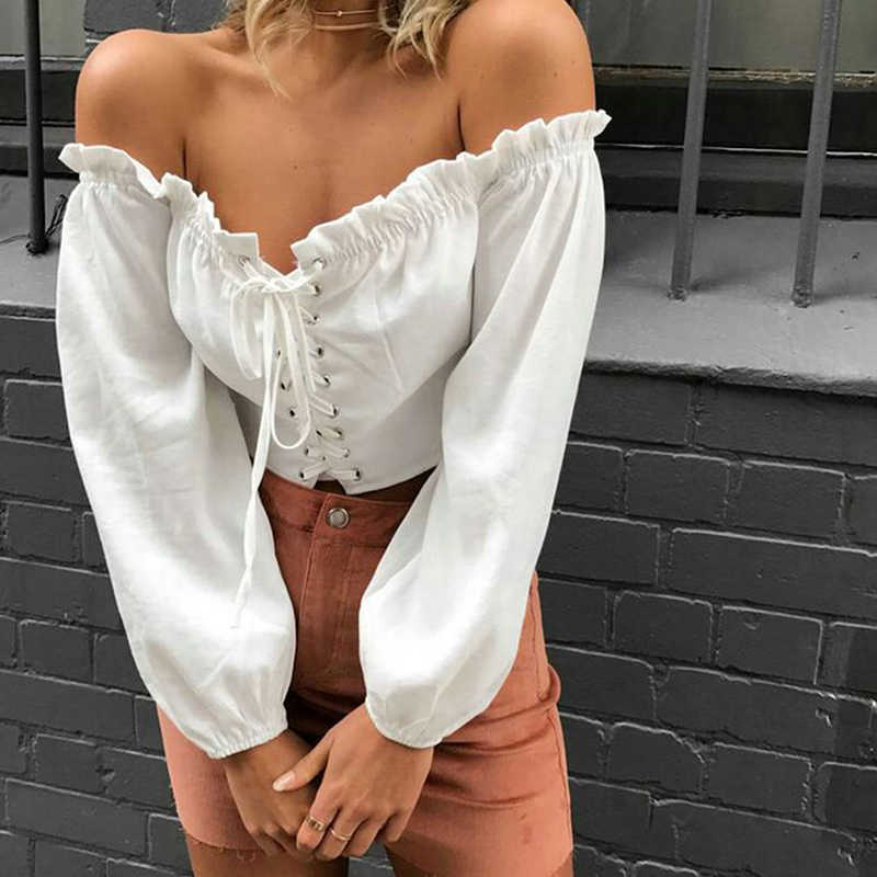 Zomer Sexy Off Shoulder Slash Hals Vrouwen Blouse Sexy Ruffle Lace Up Lange Mouwen Wit Crop Top Sexy Vrouwen Bandage korte Blusas