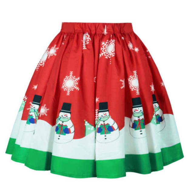 98149a900137f US $10.05 |Christmas Party Pleated Skirts Women High Waist Xmas Snowman  Santa Claus Bust Bubble Skirt Pettiskirt jupes femmes-in Skirts from  Women's ...