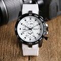 Blanco Fresco Reloj de Pulsera de Cuarzo de Los Hombres de moda Casual Relojes Boy Deporte Moderno W190102 Hora Correa de Silicona de Regalo para Navidad