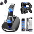 Dual LED Light PS4 Charger Cradle Dock Station Stand+Dust Proof Prevent Cover Kit+2pcs 3D Joystick Cap For PlayStation 4 PS4