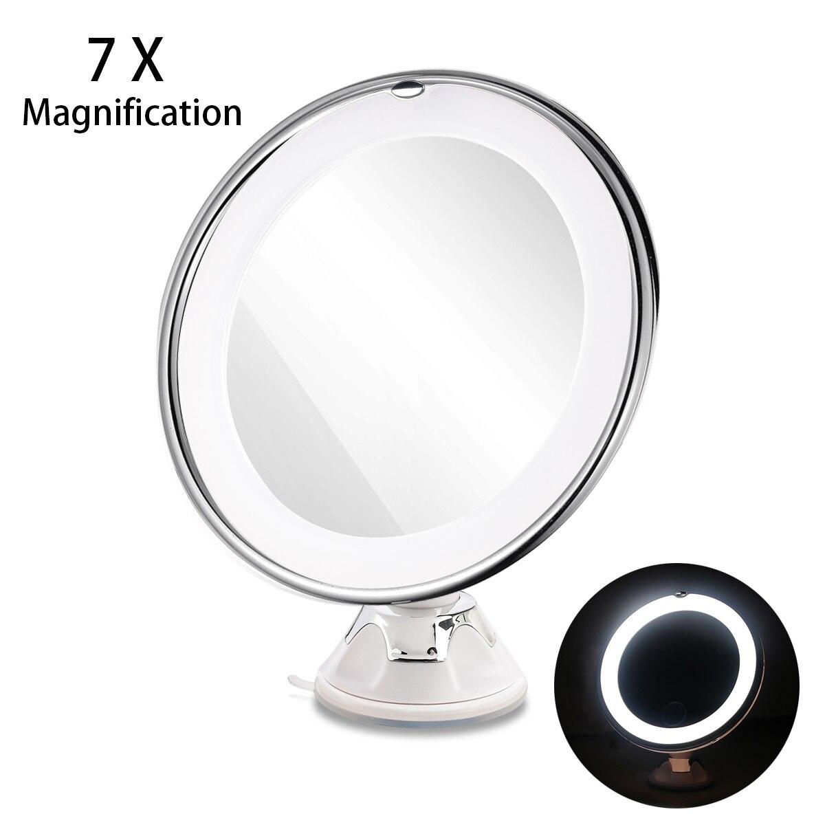 RUIMIO 7X Loupe Miroirs Cosmétique Maquillage Miroir Avec Puissance De Verrouillage Ventouse Lumineux Diffus Lumière 360 Degrés de Rotation