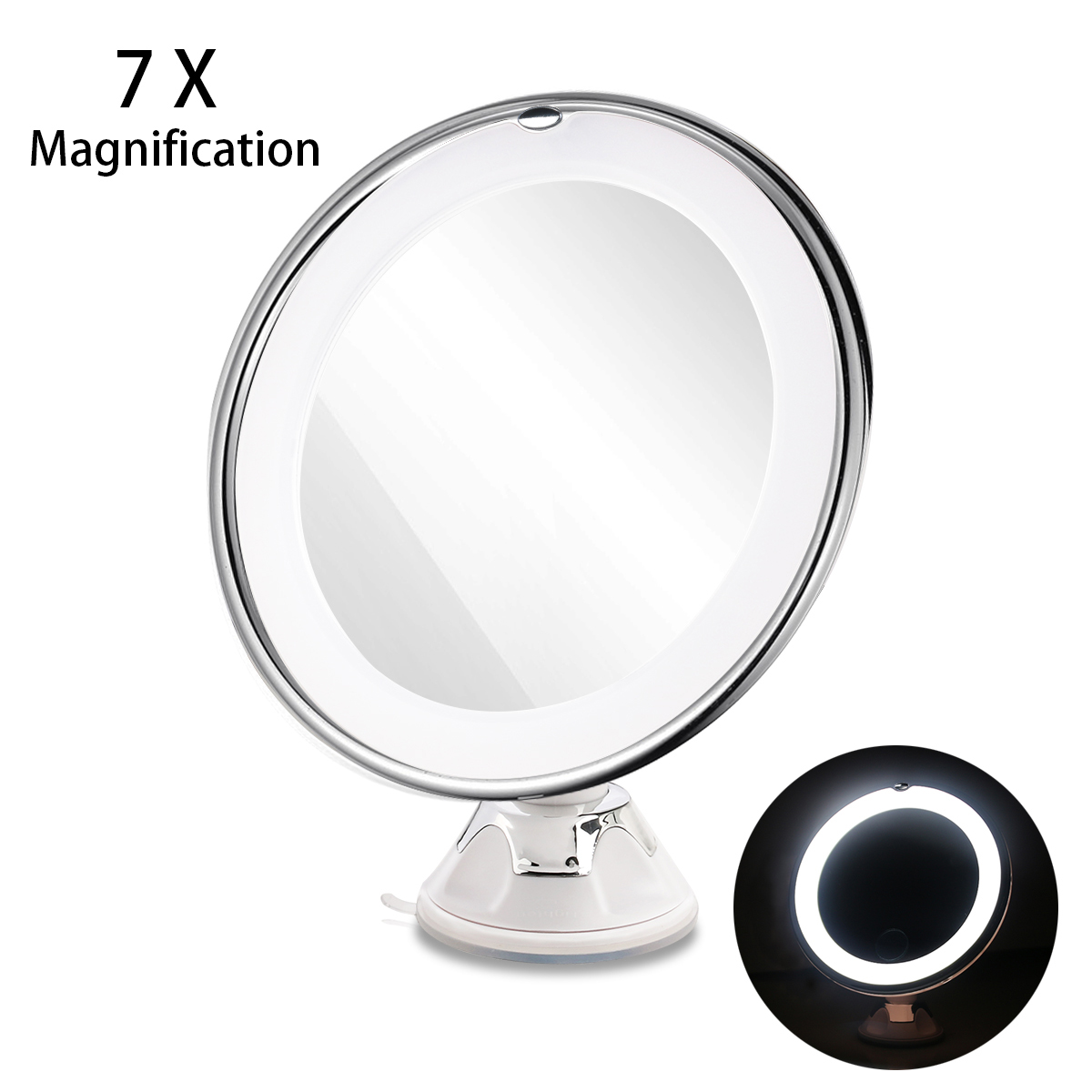 RUIMIO 7X Magnifying Cosmetic Makeup Mirror With Power Locking Suction Cup Bright Diffused Light 360 Degree