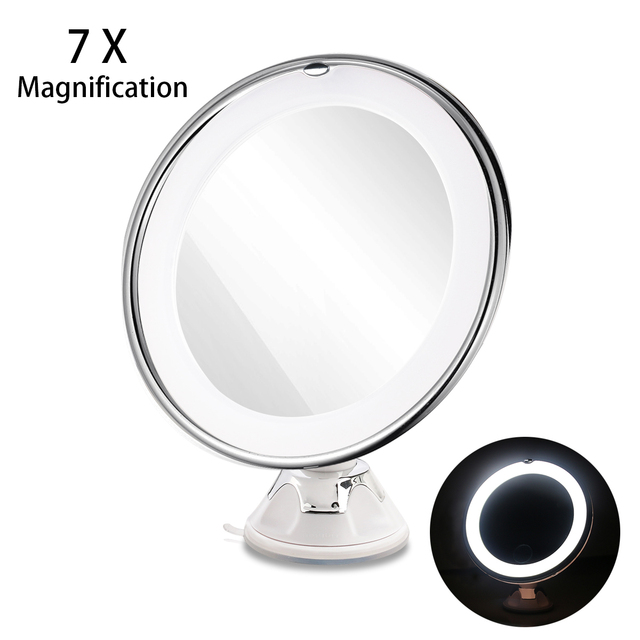 Ruimio 7x Magnifying Mirrors Cosmetic Makeup Mirror With Locking Suction Cup Bright Diffused Light 360