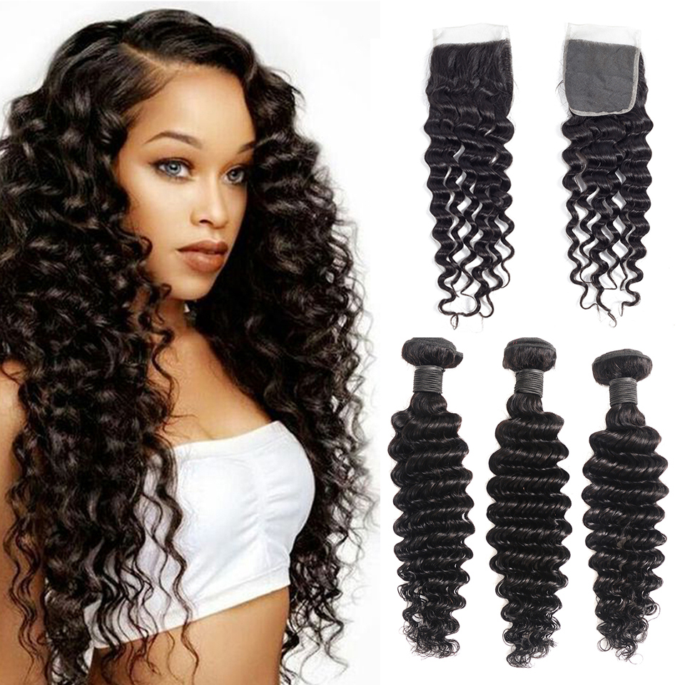 Brazilian Deep Wave Bundles with Closure 100 Human Hair Extensions with Closure Non Remy 3 Bundles