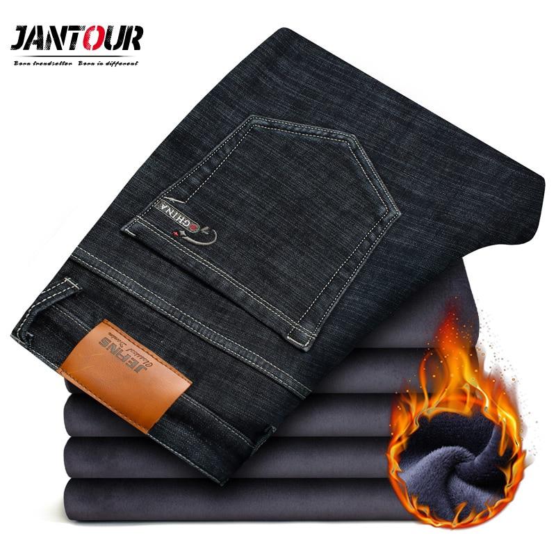 jantour Brand winter Warm Men's   Jeans   thick Stretch Denim   Jeans   Straight Fit Trousers male Cotton Pants men Large size 42 44 46