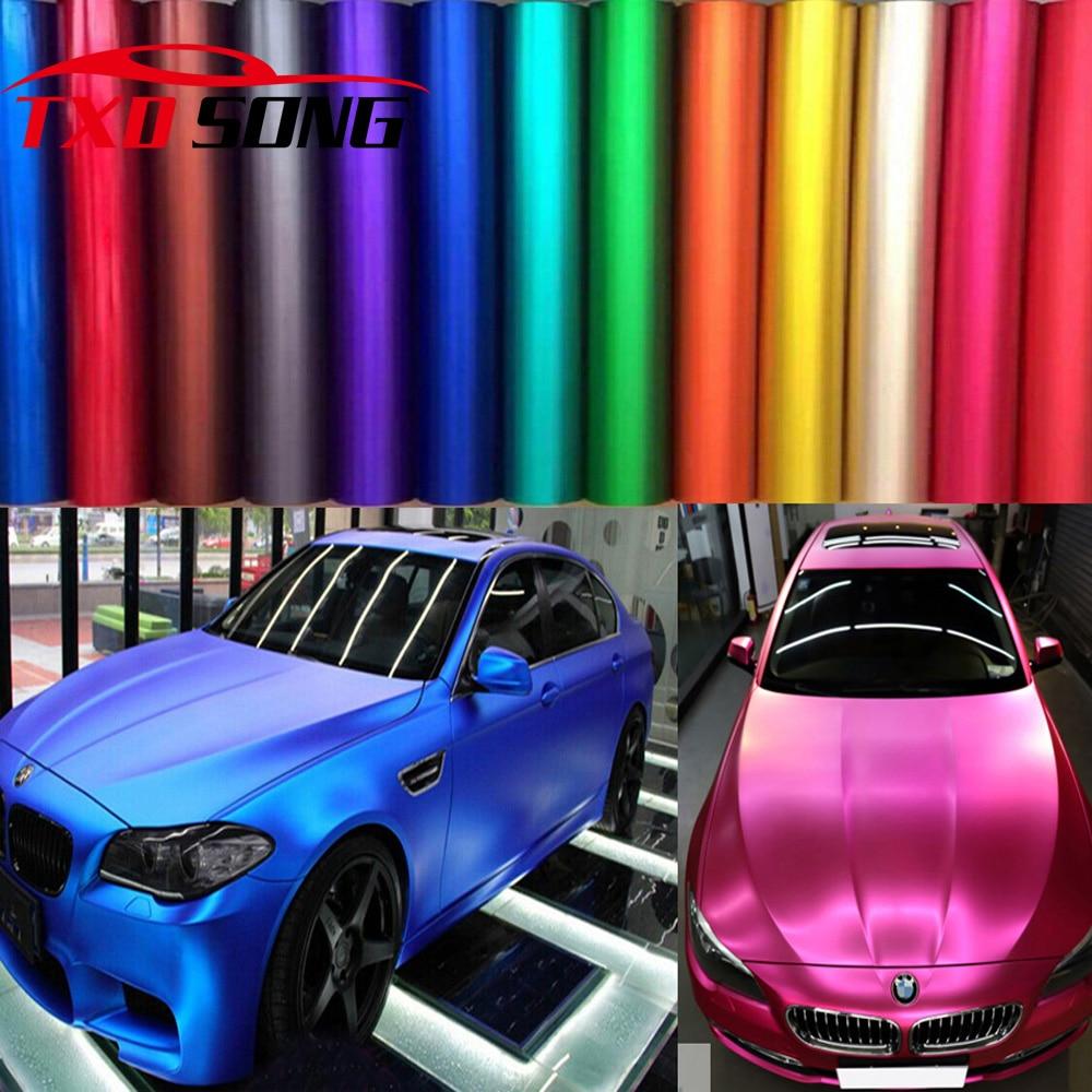 1.52*5m/10m/15m/20m Per Roll Premium Satin Metallic Matte Chrome Red Blue Green Vinyl Wrap Film Roll Bubble Free