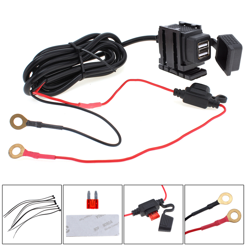 Dual USB Port 12V Waterproof Motorbike Motorcycle Handlebar Charger Adapter Power Supply Socket for Phone GPS MP4