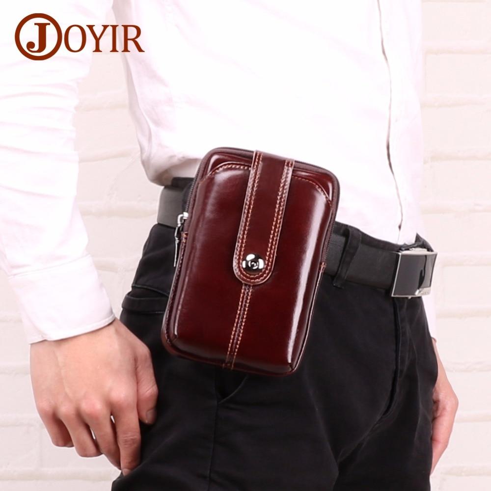 JOYIR Mens Waist Bag Fanny Pack Genuine Leather Pouch Phone Belt For Man Vintage Hip High Quality