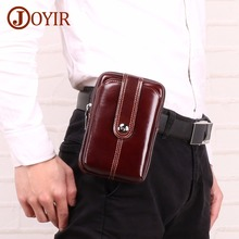 лучшая цена JOYIR Men's Waist Bag Fanny Pack Genuine Leather Waist Pack Pouch Phone Belt Bag Fanny Pack For Man Vintage Hip Bag High Quality