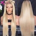 Блондинка шелковистые прямые кружева перед парик Бразильский человеческих волос Бесклеевой парик шнурка #613 Блондинка Девственница Человеческие Волосы прямые full lace парик